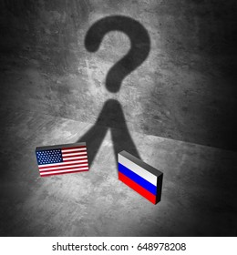Russia American news question and Russian United States questions as a current political crisis as two flags casting a shadow as uncertainty with Moscow and Washington as a 3D illustration.