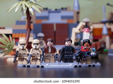 RUSSIA, April 12, 2018. Constructor Lego Star Wars. The main characters of the film - Rogue One