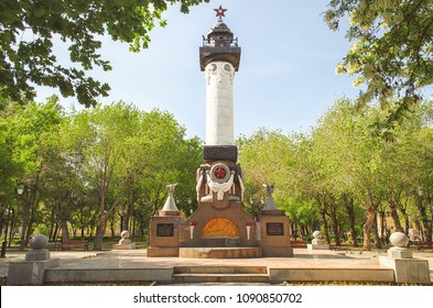 Russia. Astrakhan. A monument to military seamen in the city park in the spring afternoon. Date: 13/05/2018 years.Editorial image. Low contrast. Outdoors. Horizontal format. Color. Photo.
