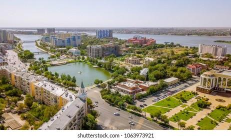 Russia, Astrakhan - September 12, 2017: Aerial view of Astrakhan and the Volga River. The Astrakhan Kremlin.