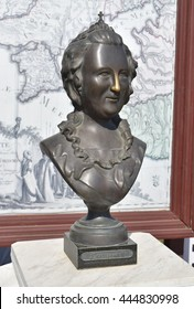Russia, Ataman - 26 September 2015: Bronze statue of Russian Empress Catherine II. Grated nose for good luck.