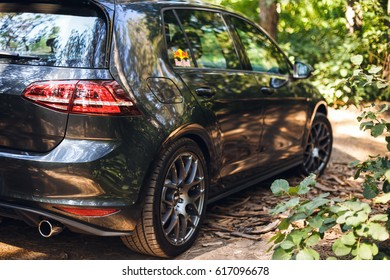 Russia - Aug 28, 2015: Volkswagen Golf GTI in a pine forest