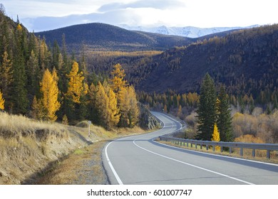 Russia. Autumn in the Altai mountains. Road in the Kurai steppe.