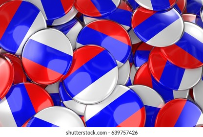 Russia Badges Background - Pile of Russian Flag Buttons. 3D Rendering