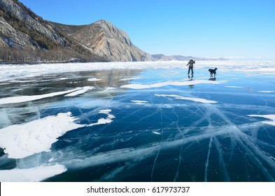Russia, Baikal ice in march. Man skating on the ice with black dog
