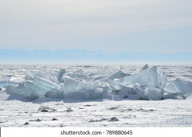 Russia, Baikal lake, ice hummocks
