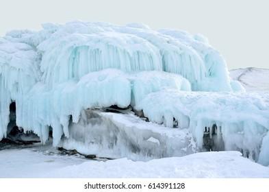 Russia, Baikal lake. Maloe Sea. Ice icicles  on Olkhon island