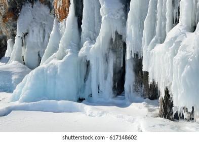 Russia, Baikal lake. Maloe Sea. Ice icicles  on Olkhon island, Khoboy cape