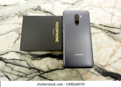 Russia Berezniki November 17, 2018 - New smartphone POCOPHONE F1 performance smartphone with low price.Notch bar and front camera.