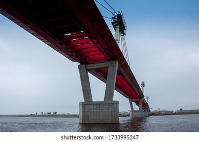 Russia, Blagoveshchensk, July 2019: Bridge on the Amur river from Blagoveshchensk to the Chinese city of Heihe in summer