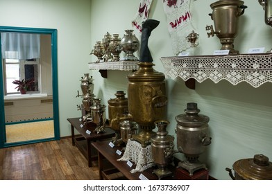 Russia, Blagoveshchensk, July 2019: Museum and exhibition complex Sayapin house, Russian samovar room