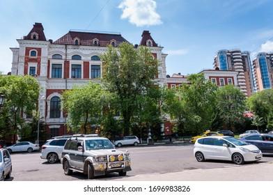 Russia, Blagoveshchensk, July 2019: Summer. The building of the Blagoveshchensk state pedagogical University
