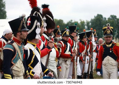 Russia. BORODINO, MOSCOW REGION - SEPTEMBER 03, 2017.Reenactors dressed as French army soldiers at  Borodino battle historical reenactment in Russia. French camp forming up before the battle.