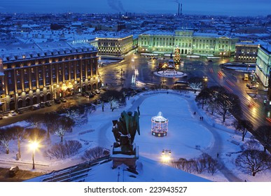 Russia, The Building of Legislative assembly of St Petersburg, Isaak Square, night, winter, top view