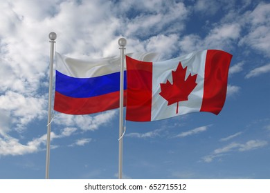 Russia and Canada flag waving in the sky
