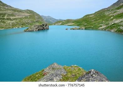 Russia, Caucasian biosphere reserve. Ineretinskoye lake in summer day