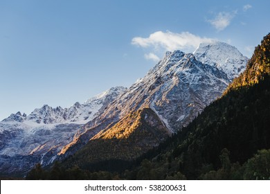 Russia, Caucasus, district of the settlement Arkhyz, mountain snow capped peak
