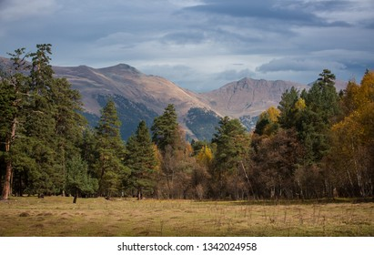Russia, the Caucasus Mountains, Kabardino-Balkaria. The mountain ridge of the Caucasus is cloudy in the morning.