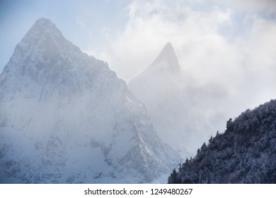 Russia, the Caucasus Mountains, Republic of Karachay-Cherkessia. The first frost in the mountains.
