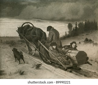 "RUSSIA - CIRCA 1865: Painting artist Vasily Perov 'Journey'  from the collection of the State Tretyakov Gallery, Moscow, 1865. Illustration from the book ""History of Moscow"", 1957"