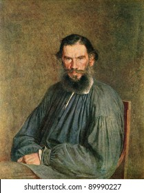 "RUSSIA - CIRCA 1873: Leo Tolstoy, a portrait of Nicholas Kramskoy, 1873, from the collection of the State Tretyakov Gallery, Moscow. Illustration from the book ""History of Moscow"", 1957"