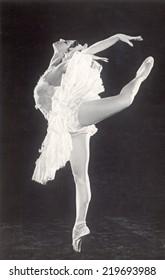 Russia - CIRCA 1962s: An antique Black & White photo of a ballerina