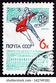 RUSSIA - CIRCA 1965: a stamp printed in the Russia shows Figure Skating, Ice Dancing, Moscow Sports Palace, European Figure Skating Championship, circa 1965
