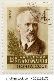RUSSIA - CIRCA 1969: A stamp printed in USSR, shows portrait of Vladimir Leontyevich Komarov was a Russian botanist (1869-1945), circa 1969