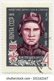 RUSSIA - CIRCA 1970: A stamp printed in USSR, shows portrait of Soviet tank crew, the hero of the Soviet Union V.I.Peshehodov (1925-1945), circa 1970