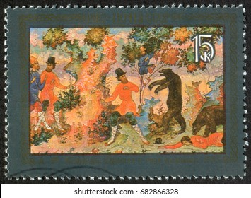 """Russia - CIRCA 1982: A post stamp printed in the USSR (Soviet Union) shows a paint by A. F. Kotyagin """"The Parable of Two Peasants Men"""", from Palekh (Mstyora) Russian folk handicraft series, circa 1982"""