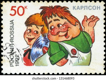 RUSSIA - CIRCA 1992: A stamp printed in Russia shows  Kid and Carlson, series Characters from Children's Books, circa 1992