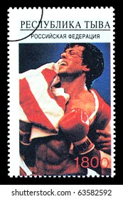 RUSSIA - CIRCA 2005: A postage stamp printed in Russia showing Sylvester Stallone, circa 2005