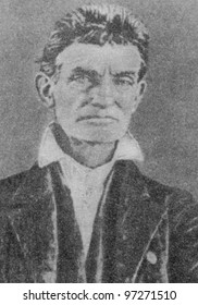 RUSSIA - CIRCA 2008: Illustration from the textbook Modern History, published in the Russia shows Portrait of an American politician John Brown, circa 2008