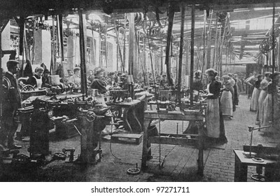 RUSSIA - CIRCA 2008: Illustration from the textbook Modern History, published in the Russia shows workers at a textile factory in England in the 19th century, circa 2008