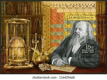 RUSSIA - CIRCA 2009: A stamp printed in Russia shows Dmitri Mendeleev (1834-1907), celebrate the 175th anniversary of Mendeleev's birth, circa 2009