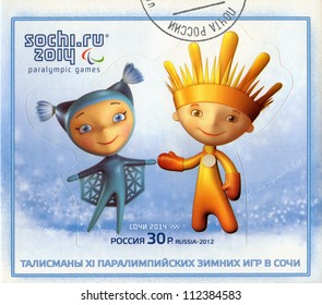 RUSSIA - CIRCA 2012: A stamp printed in RUSSIA shows mascots of Paralympic Games in Sochi 2014 - Snowflake (Snezhinka) and Ray of Light (Luchik) , circa 2012