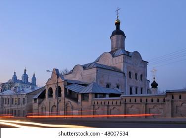 Russia. City of Smolensk. Troitsky (Trinity) Monastery at a sunset