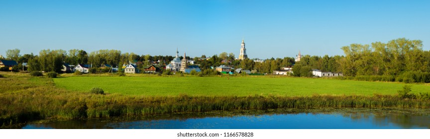 Russia. The city of Suzdal. Panorama of the outskirts across the Kamenka River