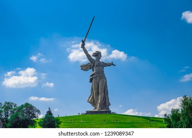 Russia, the city of Volgograd (Stalingrad), Mamaev Kurgan, the statue of the Motherland calls, July 21, 2018