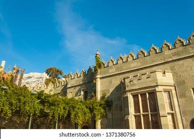 Russia, Crimea, Alupka 03 November 2018: Moorish South side terraces of the Vorontsov Palace.