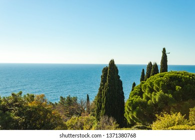 Russia, Crimea, Alupka 03 November 2018: black sea and terraces on the South side of the Vorontsov Palace.