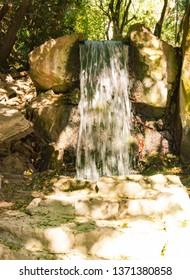 Russia, Crimea, Alupka 03 November 2018: Waterfall Tears in the Vorontsov Park
