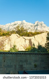 Russia, Crimea, Alupka 03 November 2018: Beautiful panoramic landmark view of mount AI-Petri from the Vorontsov Palace.