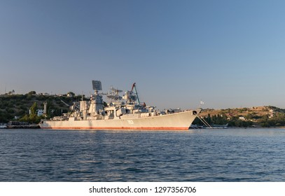 """Russia, Crimea, the city of Sevastopol. 15 august 2018: Large anti-submarine ship """"Kerch"""" (753) of the 30th division of surface ships of the black sea fleet on anchor at Sevastopol Bay"""