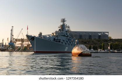 "Russia, Crimea, Sevastopol - 15 august 2018:Missile cruiser ""Moskva"" (""Moscow"") (121) at harbor of Sevastopol"