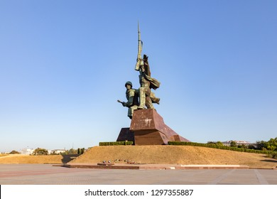 Russia, Crimea, Sevastopol - 15 august 2018: a monument to the feat of the defenders of Sevastopol during the second world war the Sailor and soldier on the hill of the Cape Crystal