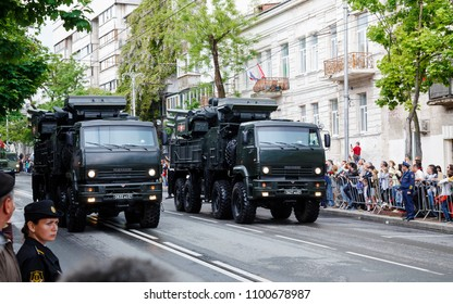 Russia, Crimea, Sevastopol - May 9, 2018: Military parade on Victory Day on May 9 (WW2)