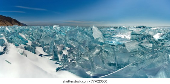 Russia. The Eastern Siberia. Amazing the transparency of the ice of lake Baikal due to the lack of snow and extreme cold in the winter.