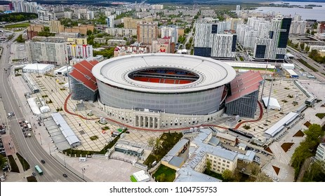 Russia, Ekaterinburg - May 30, 2018: The Central Stadium of the city of Yekaterinburg. Location of FIFA football matches 2018, From Dron