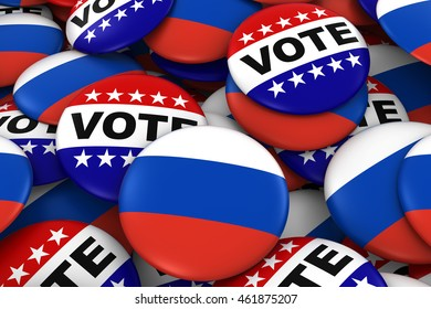 Russia Elections Concept - Russian Flag and Vote Badges 3D Illustration